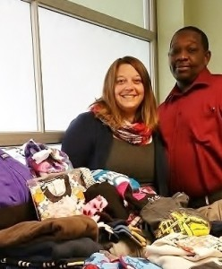 Kendra Nealon and Tyrone Snellings with a small portion of the clothing collected in 2015 for Head Start of York County.